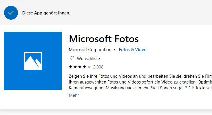 """Microsoft Konto - 3 Geräte sind vorhanden, auf einem lässt sich """"Fotos"""" nicht installieren"""