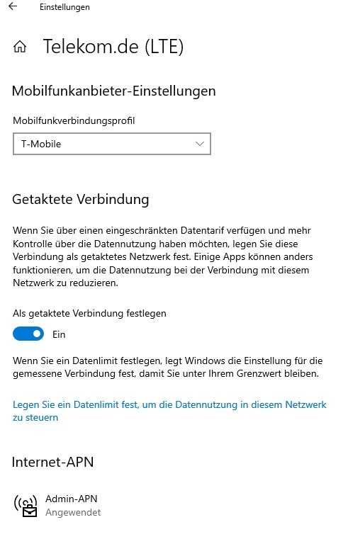 Admin-APN nicht veränderbar - WIN 10 Pro; 64 Bit; Stand: SP1909; HP ProBook 650 G1