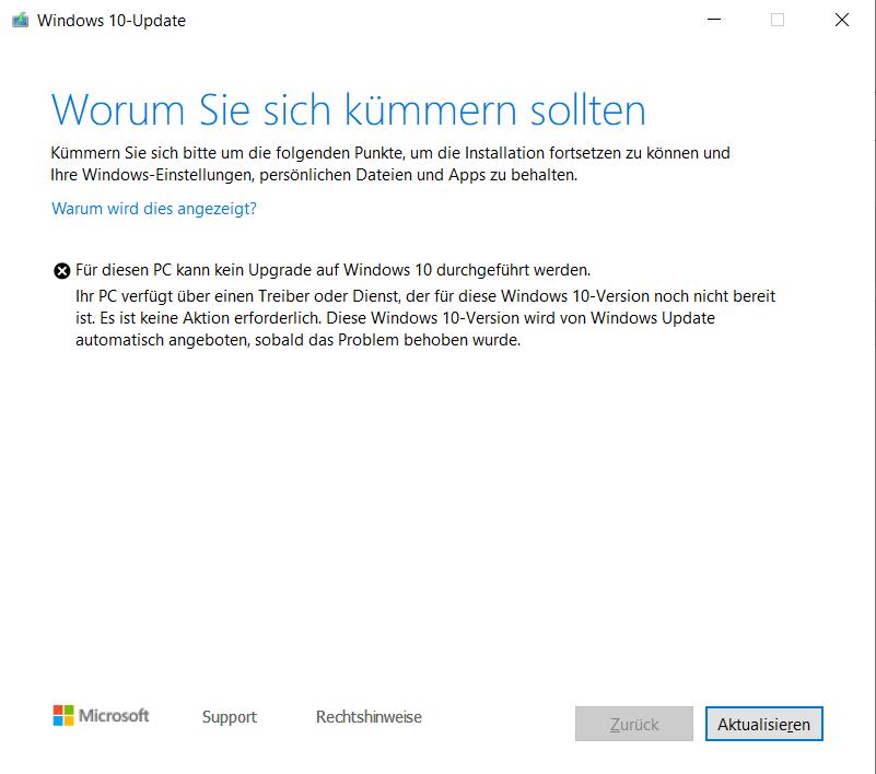 Windows Insider: Funktionsupdate auf Windows Version 1903 schlägt fehl.
