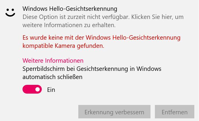 Windows Hello funktioniert nicht mehr