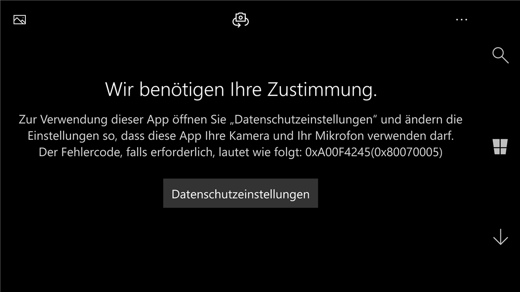 Fehlercode: 0xA00F4245(0x80070005), Problem beim Starten der Kamera auf meinem Lumia 950