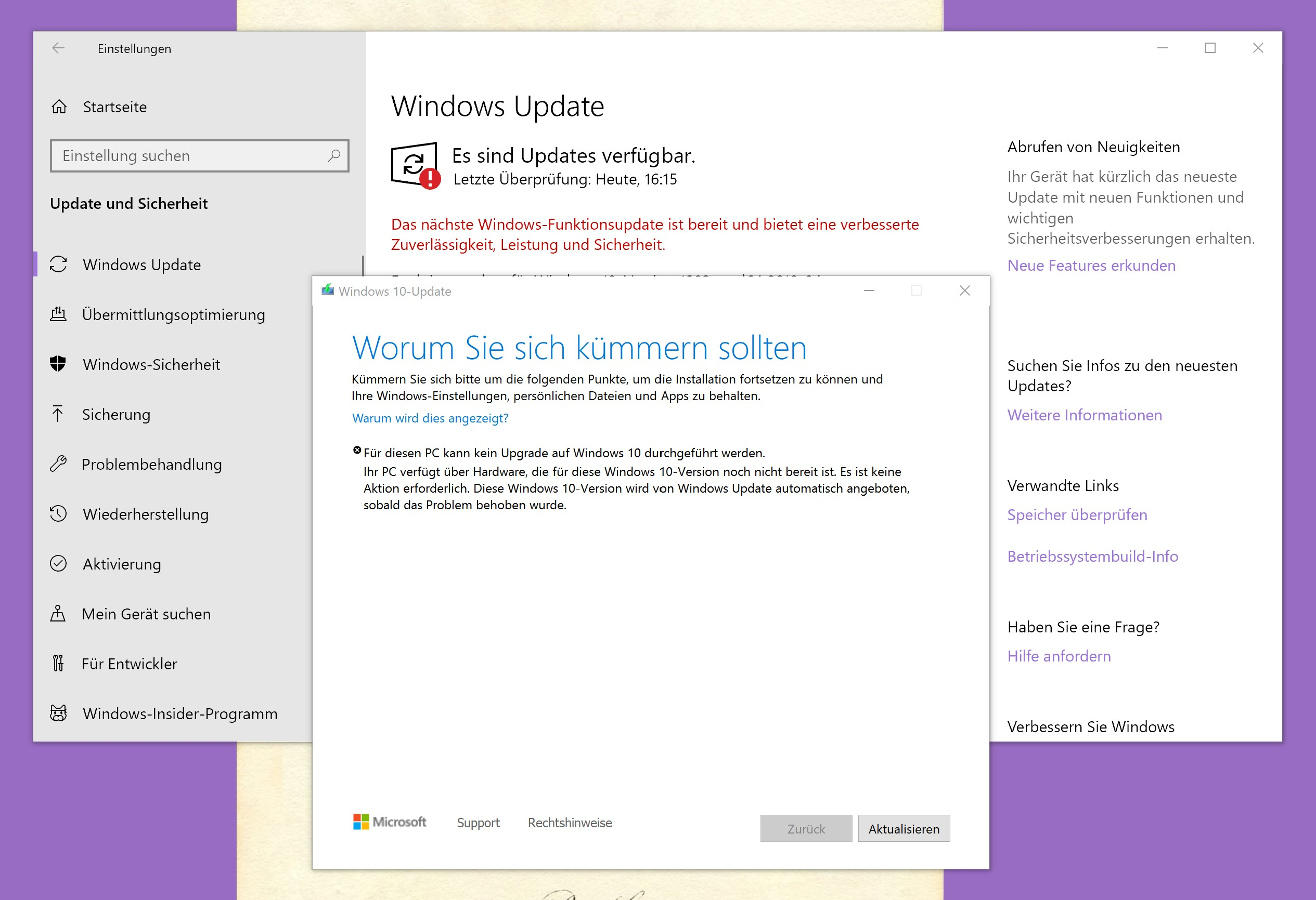 Surface Book 2, Insider Preview, update auf Windows 10 1903 bricht ab