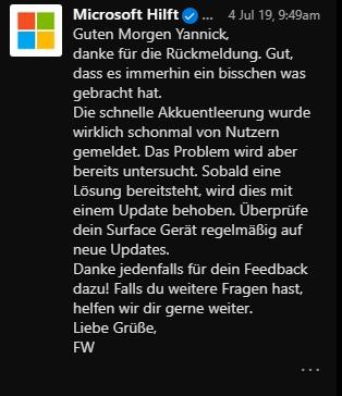 Surface Pro 4 Akku: komplett entladen / lässt sich nicht mehr laden / entlädt sich im...