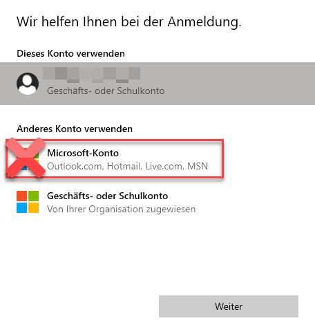 """""""Microsoft-Konto hinzufügen"""" ausschalten bzw. ausblenden"""