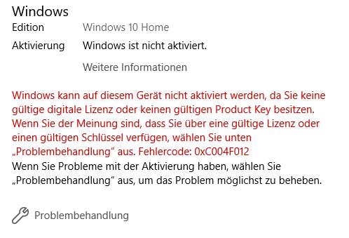 Windows 10 Fehlercode: 0xC004F012