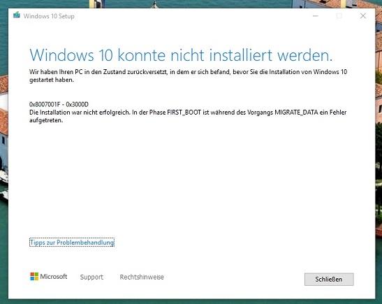 0x8007001F - 0x3000D Funktionsupdate scheitert immer wieder