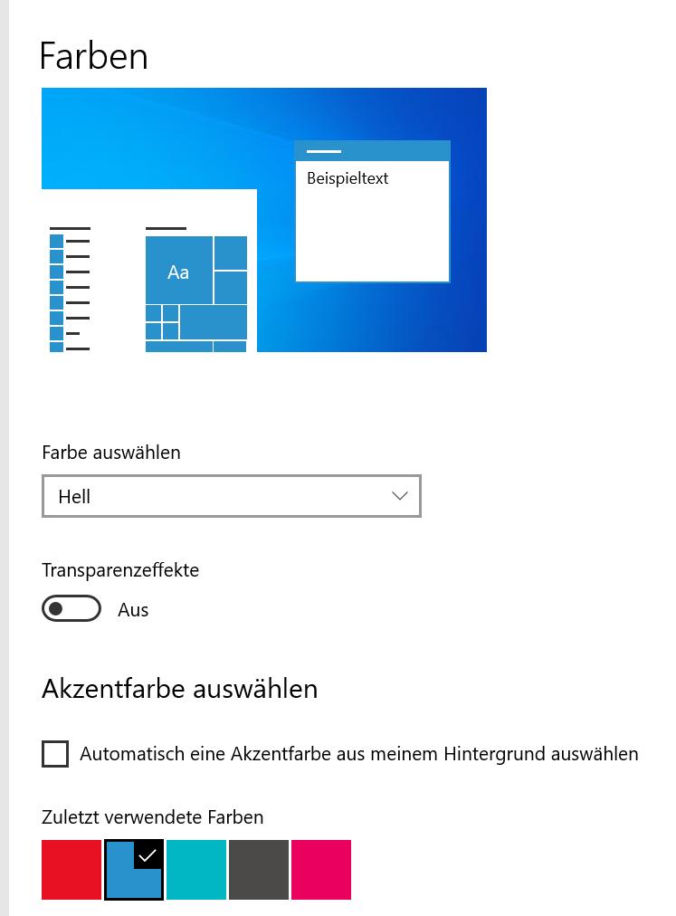Windows Kacheln farblos nach Upgrade auf 20H2