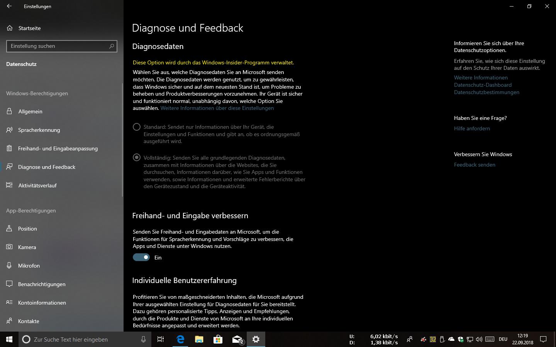 Windows Insider Einstellungen unter Update und Sicherheit