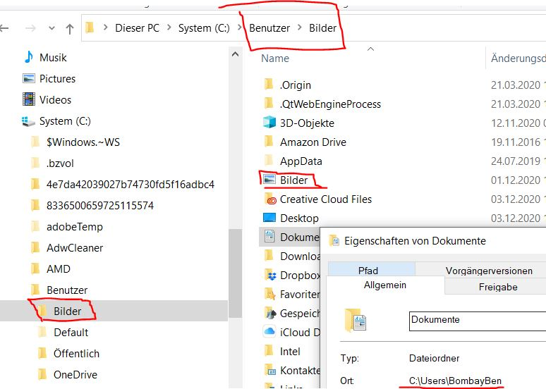 Benutzerverzeichnis wird mit falschem Namen angezeig