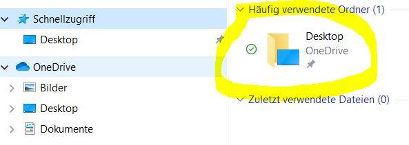 Desktop-OneDrive-Ordner lässt sich nicht aus Schnellzugriff lösen