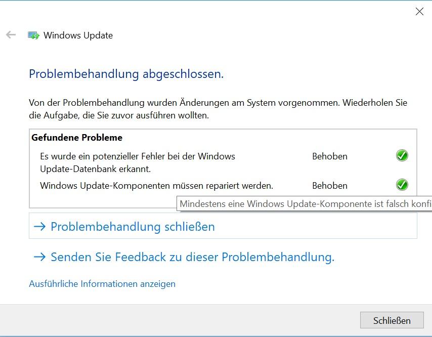 Win 10 update probleme