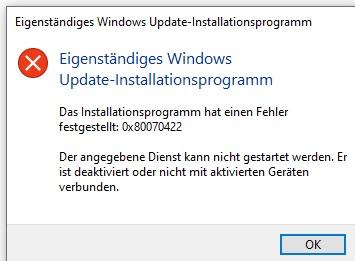 Windows Update stellt sich immer auf Deaktiviert