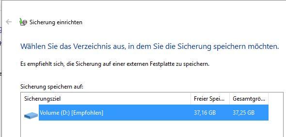 Datensicherung auf eine externe Festplatte bei Windows 10