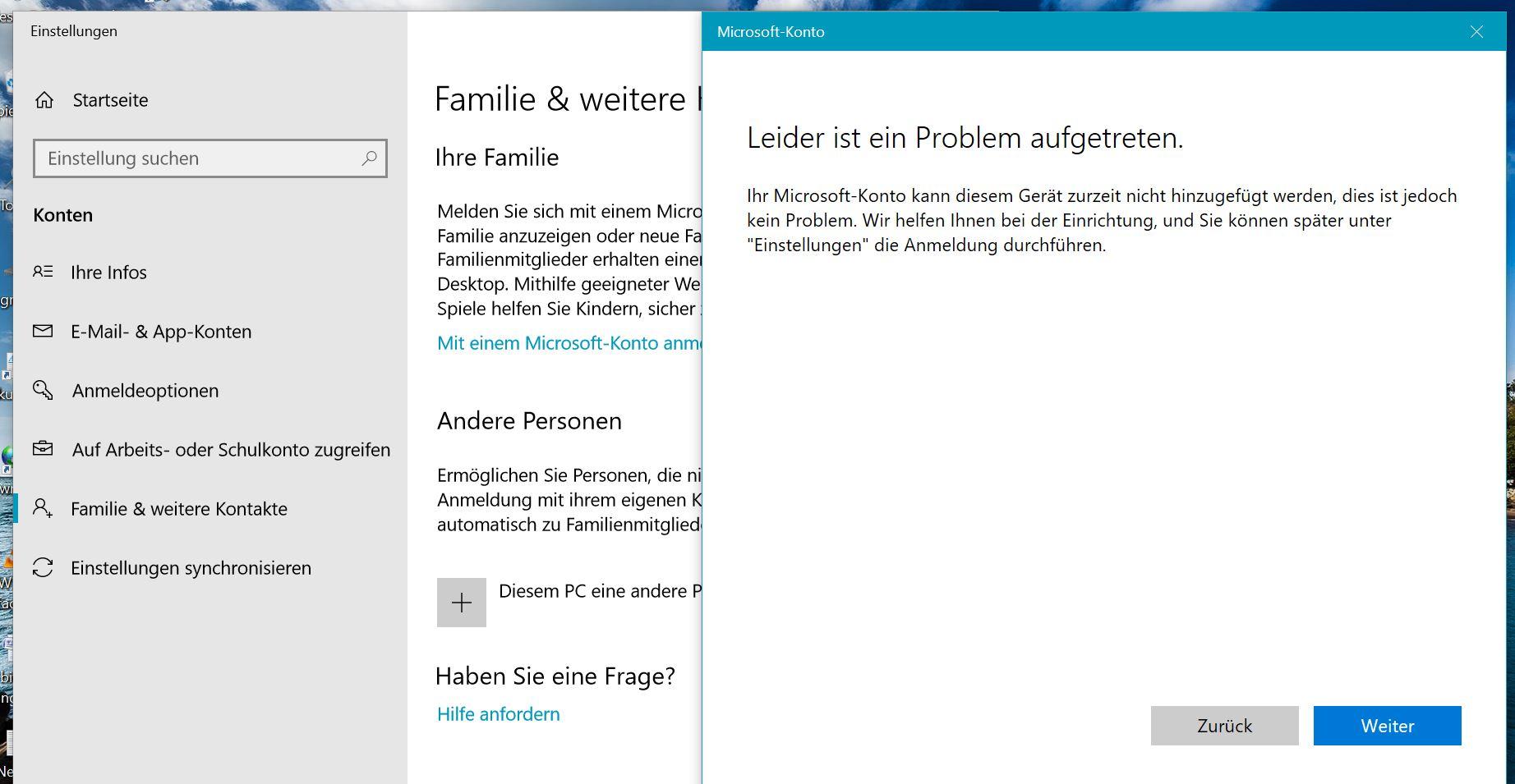 Mit Outlook Konto als Administrator unter Win10 Home registriert, unter Konten/Email und...