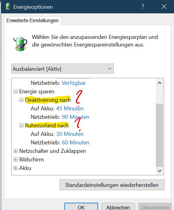 Frage zu den Energieoptionen unter Windows 10