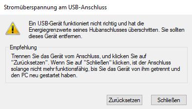"""""""Stromüberspannung am USB-Anschluss"""" geht nicht mehr weg"""