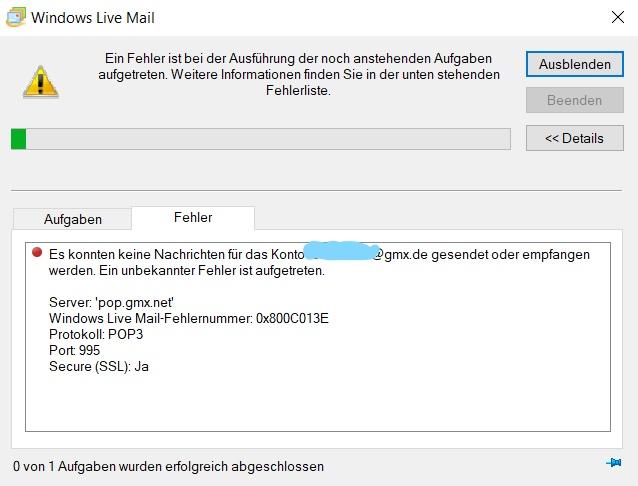 Windows Live Mail Fehler