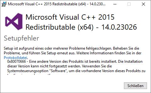microsoft visual c ++ 2015 redistributable Installieren fehlgeschlagen