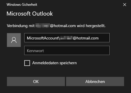 Popup: Windows-Sicherheit - Microsoft Outlook