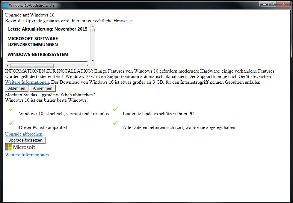 Anzeigefehler mit Windows 10 Update-Assistent