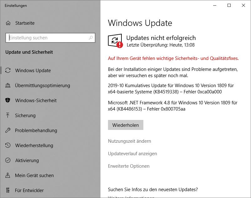 2019-10 Kumulatives Update für Windows 10 Version 1809 für x64-basierte Systeme (KB4519338)...