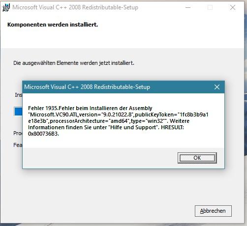 Ich kann Microsoft Visual C++ 2005 nicht installieren