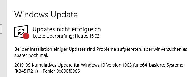 KB4517211 lässt sich nicht installieren