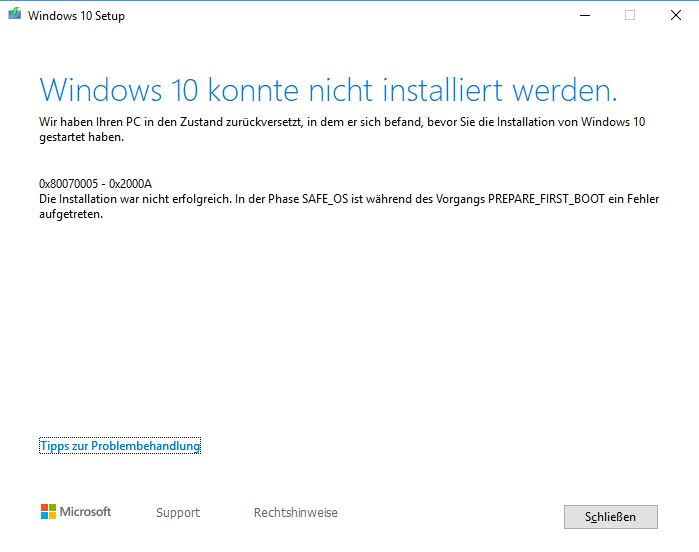Funktions Update 1903 - beim Download Fehlercode 0x80070005 - 0x2000A
