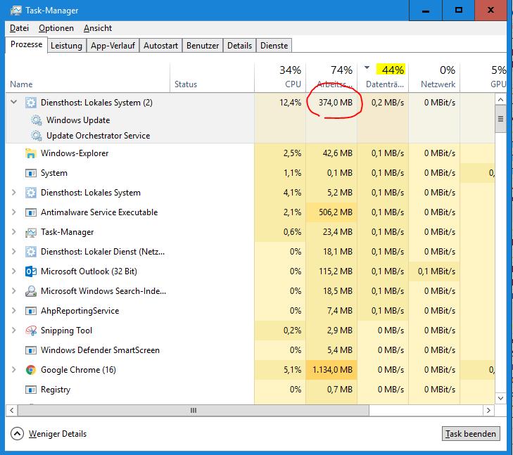 Probleme mit Windows Update Service (Surface Pro, Windows 10)