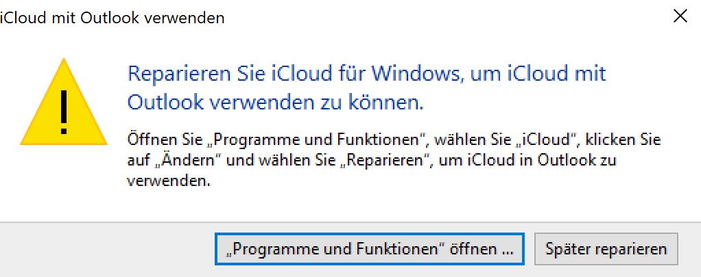 Probleme mit I cloud für Windows und Outlook