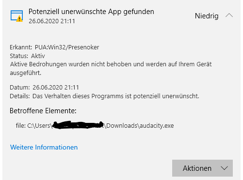 Windows Defender Meldung