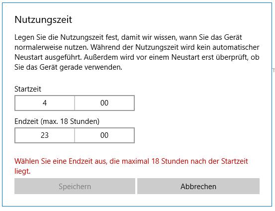 Laut Microsoft Windows 10 darf der Arbeitstag nicht länger als 18 Stunden dauern