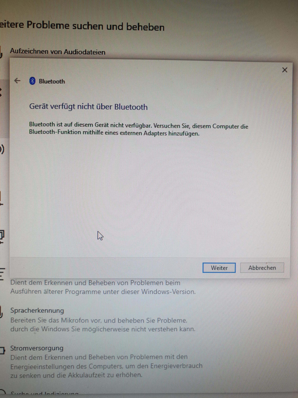 Bluetooth auf einmal verschwunden