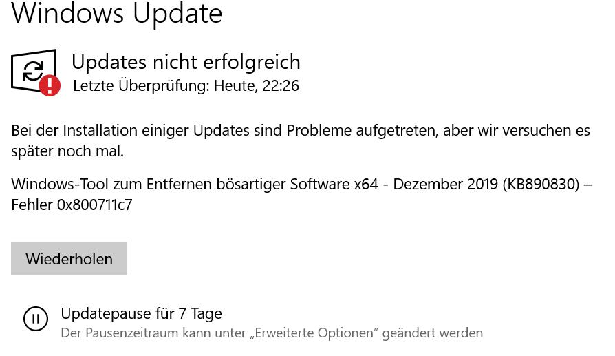 Seit Wochen kommt eine Meldung nach Updates