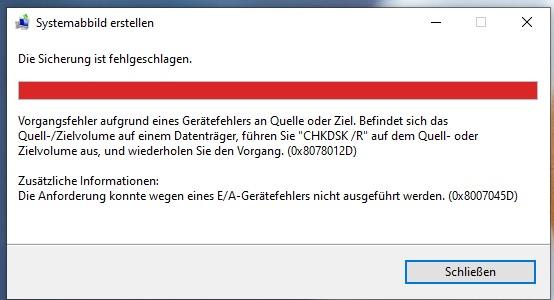 Windows 10 Sicherung konnte wegen E/A-Gerätefehler 0x8007045D nicht erfolgen