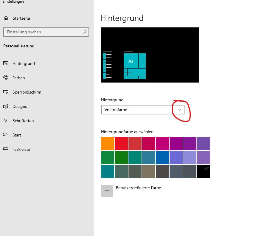 Häkchen der HIntergrundfarbe in Windows 10 entfernen