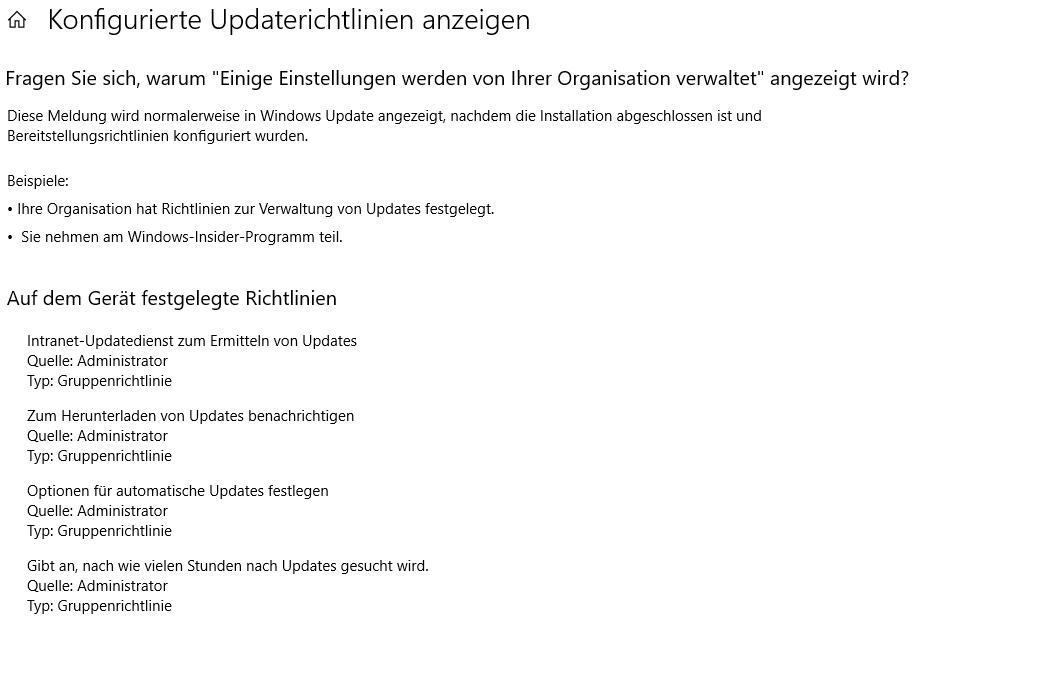 Verbindung Update Dienst nicht möglich