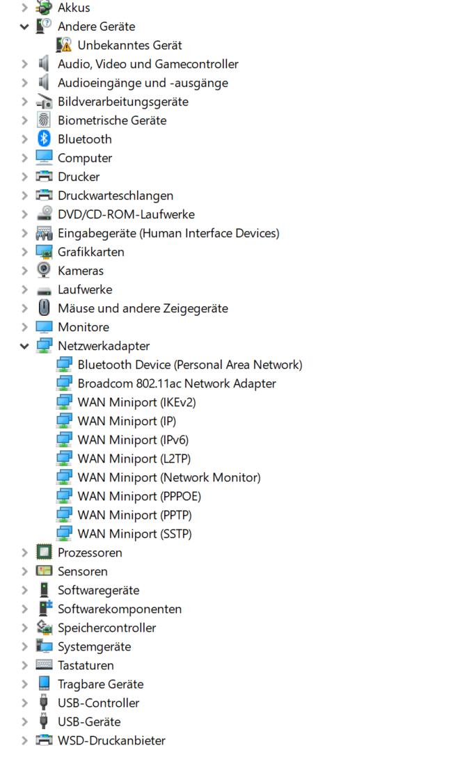 LAN-Adapter wird nicht mehr angezeigt