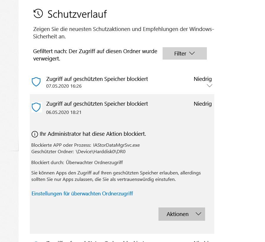 Seit einigen Tagen öfters Meldung von Ransomware-Schutz zu:    IAStorDataMgrSvc.exe