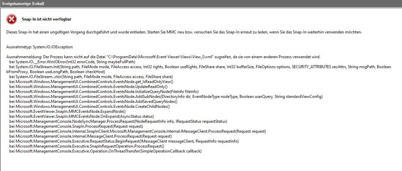 Ereignisanzeige: ein fehler wurde in einem snap in festgestellt und das snap in wird entfernt