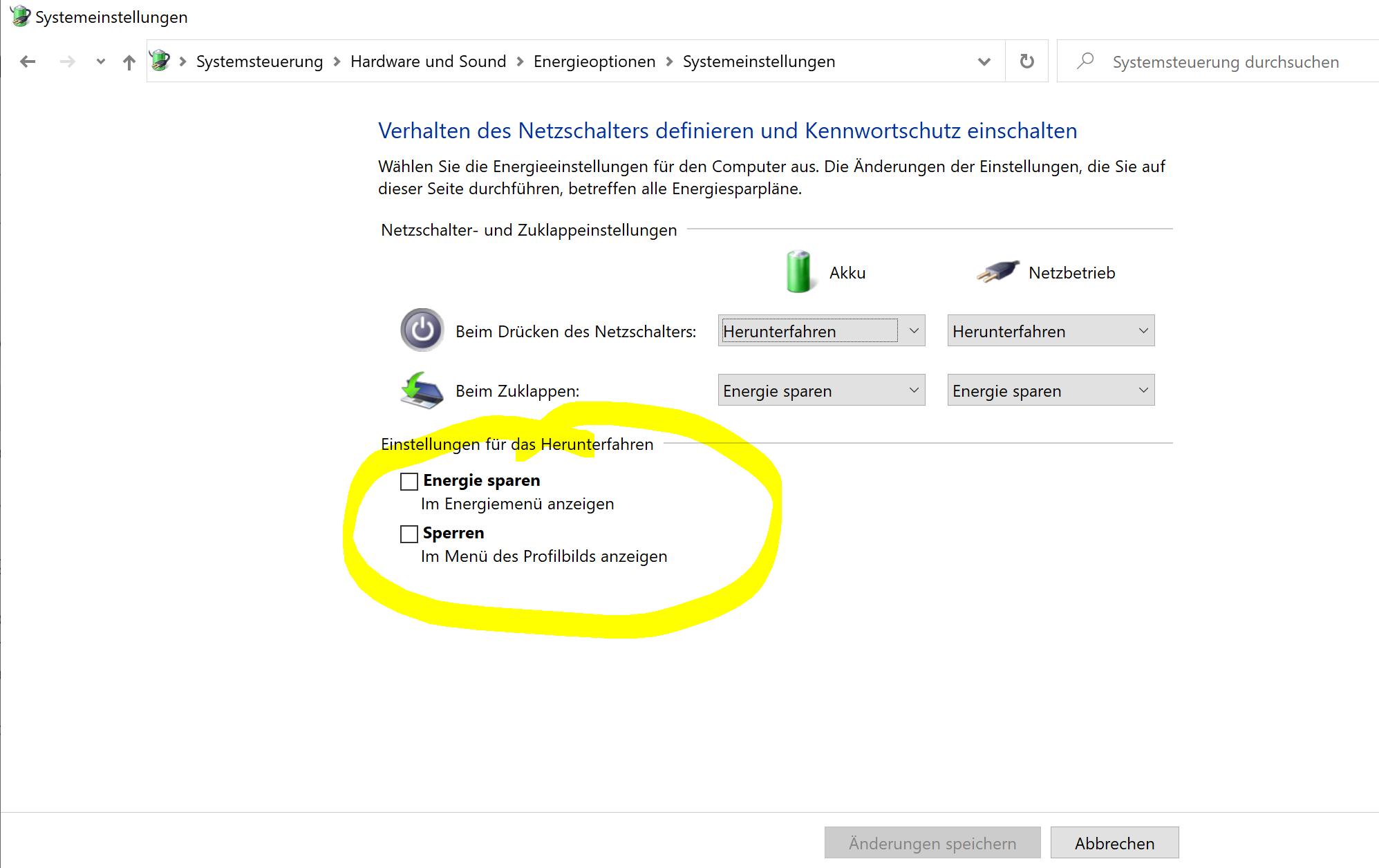 Schnellstart Deaktivieren Nicht möglich Surface Book 2 Win 10 -