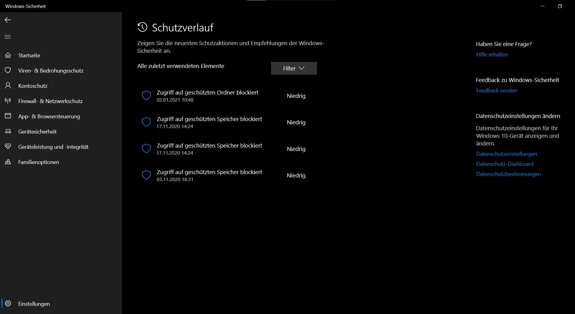 Windows Sicherheit Suchverlauf