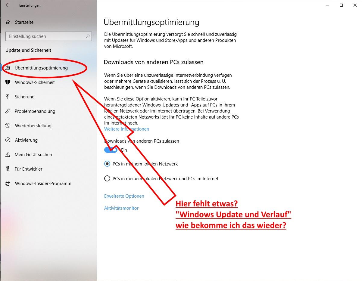 Update - Verlauf aus Windows 10 - Einstellungen verschwunden.