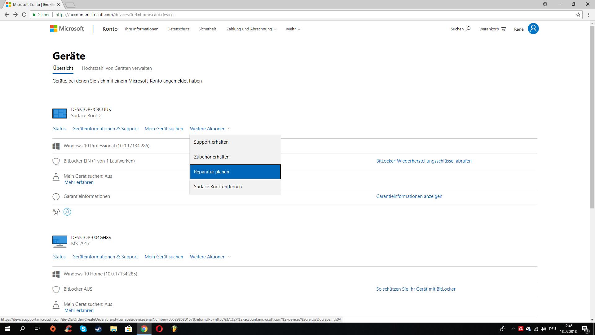 """Probleme mit dem Surface Book 2 und ebenso mit """"Geräteservice und -reparatur"""""""