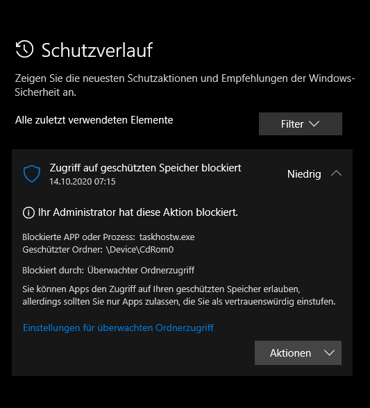 Windows Sicherheit - Viren-& Bedrohungsschutz - Schutzverlauf - geschützter Speicher