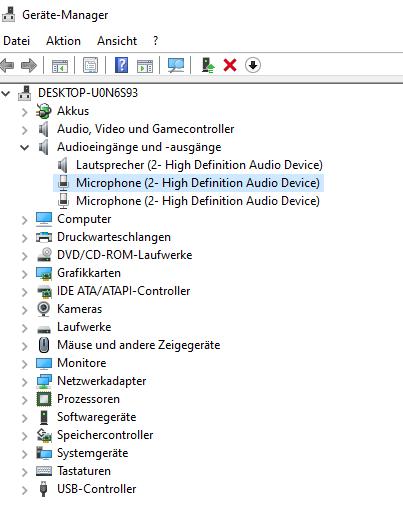 Audioeingang/Mikrofon Windows 10 funktioniert nicht