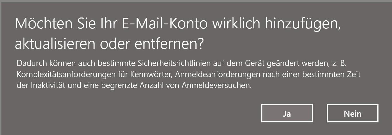 """Was bedeutet die Meldung """"Möchten Sie Ihr E-Mail-Konto wirklich hinzufügen, aktualisieren..."""
