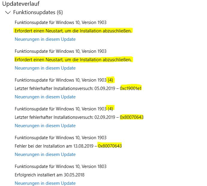 Funktionsupdate für Windows 10, Version 1903 hängt seit einem Monat in der Endlosschleife