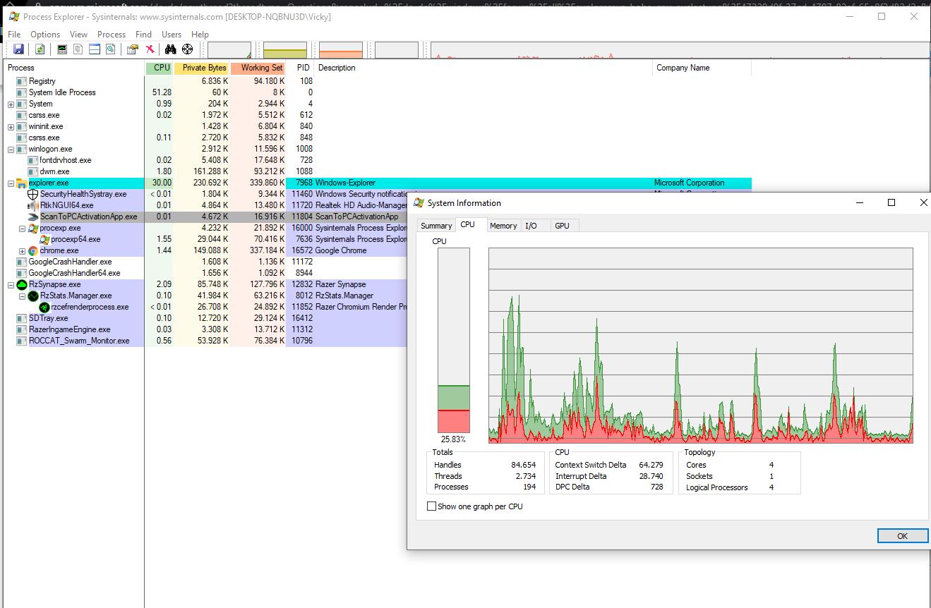 Windows Explorer hängt alle 25 Sekunden.. CPU-Last kurz hoch