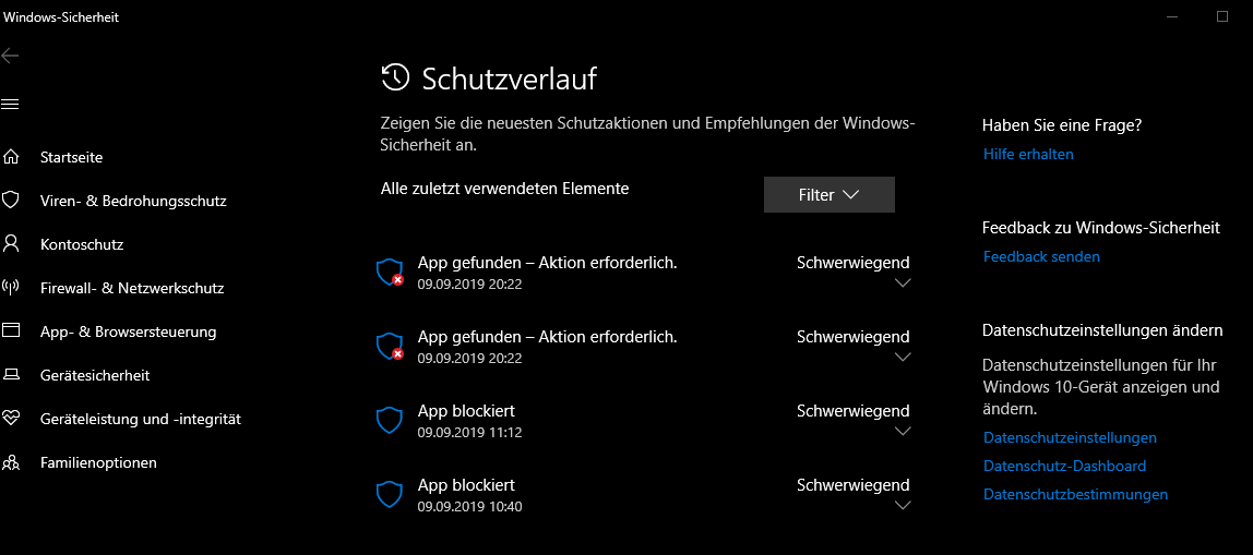 App blockiert durch Windows Defender - Schwerwiegend - Aktion erforderlich - Wie vorgehen?
